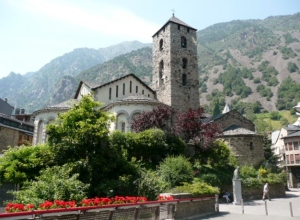 Church in the Capital of Andorra with the Mountains Behind