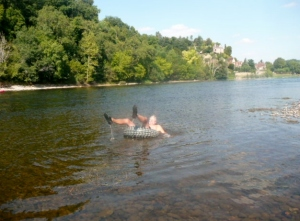 Jim 'tubing' down the River Dordogne